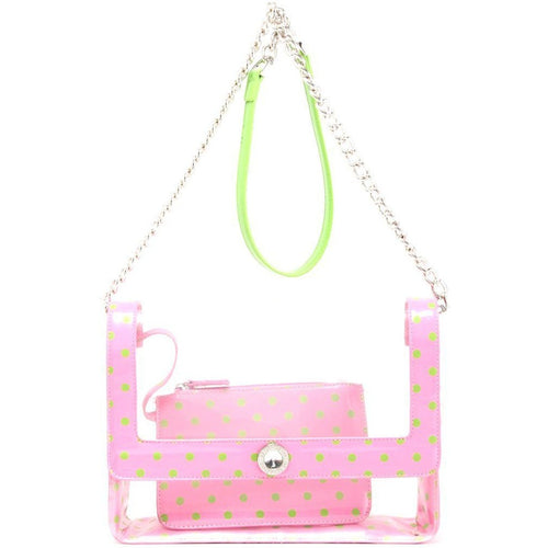 Chrissy Medium Clear Cross-body Game Day Bag - Pink and Lime Green AKA & DZ
