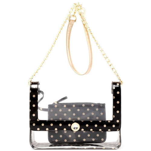 SCORE! Chrissy Medium Designer Clear Cross-body Bag - Black and Metallic Gold
