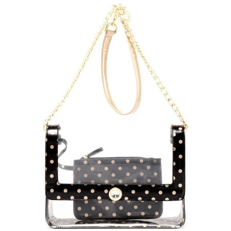 Chrissy Medium Clear Game Day Handbag - Black and Gold