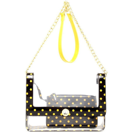 Chrissy Medium Clear Game Day Handbag - Black and  Yellow Gold