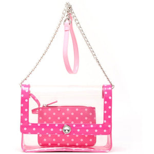 SCORE! Chrissy Medium Designer Clear Cross-body Bag -Fandango Pink and Light Pink