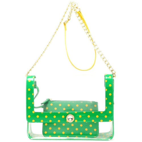 SCORE! Chrissy Medium Designer Clear Cross-body Bag - Fern Green and Yellow Gold