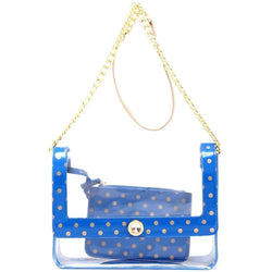 Chrissy Medium Clear Game Day Handbag - Imperial Blue and Gold