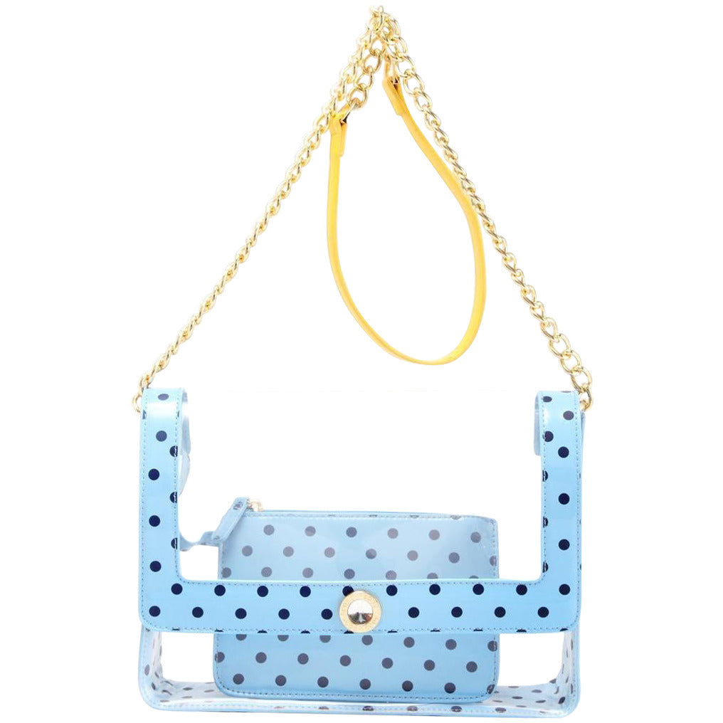 Chrissy Medium Clear Game Day Handbag - Light Blue, Navy Blue and  Yellow Gold