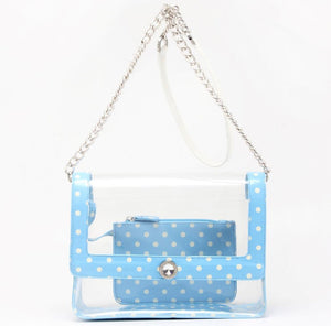 Chrissy Medium Clear Game Day Handbag - Light Blue and White