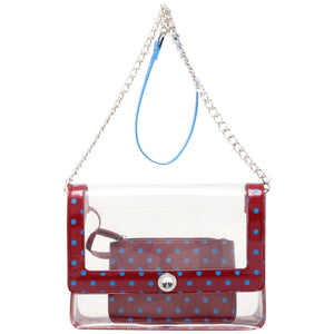 Chrissy Medium Clear Game Day Handbag - Maroon and French Blue