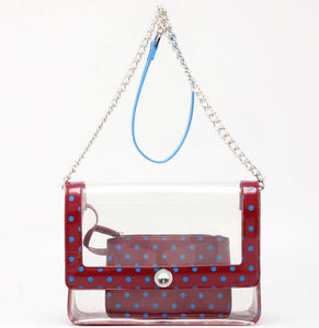 SCORE! Chrissy Medium Designer Clear Cross-body Bag - Maroon and Blue