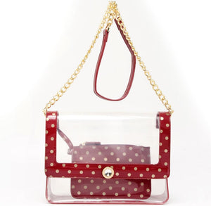 Chrissy Medium Clear Game Day Handbag - Maroon and Gold