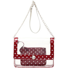 Chrissy Medium Clear Game Day Handbag - Maroon and Silver