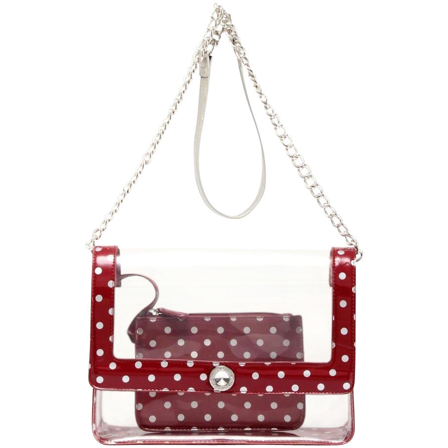 SCORE! Chrissy Medium Designer Clear Cross-body Bag - Maroon and Silver