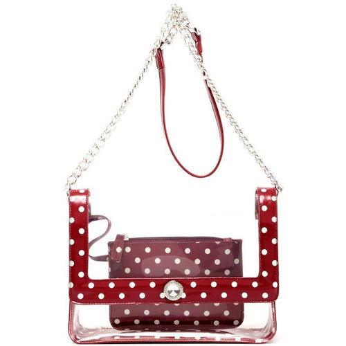 SCORE! Chrissy Medium Designer Clear Cross-body Bag - Maroon and White