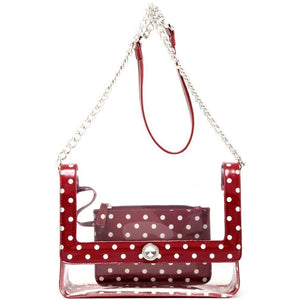 Chrissy Medium Clear Game Day Handbag - Maroon and White
