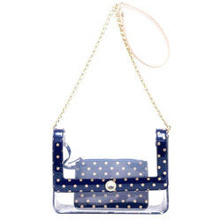 Chrissy Medium Clear Game Day Handbag - Navy Blue and Gold