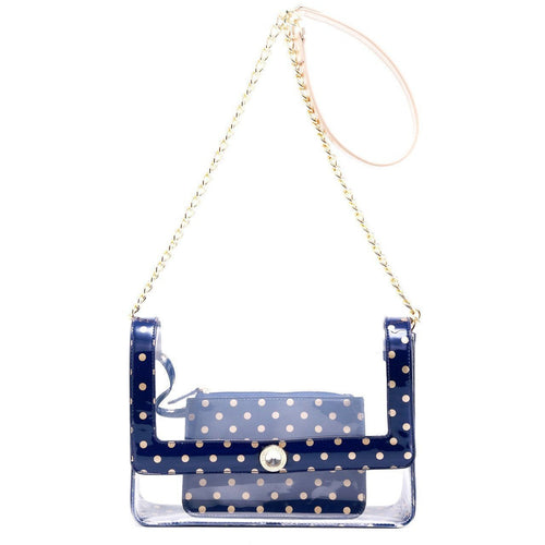 SCORE! Chrissy Medium Designer Clear Cross-body Bag - Navy Blue and Gold
