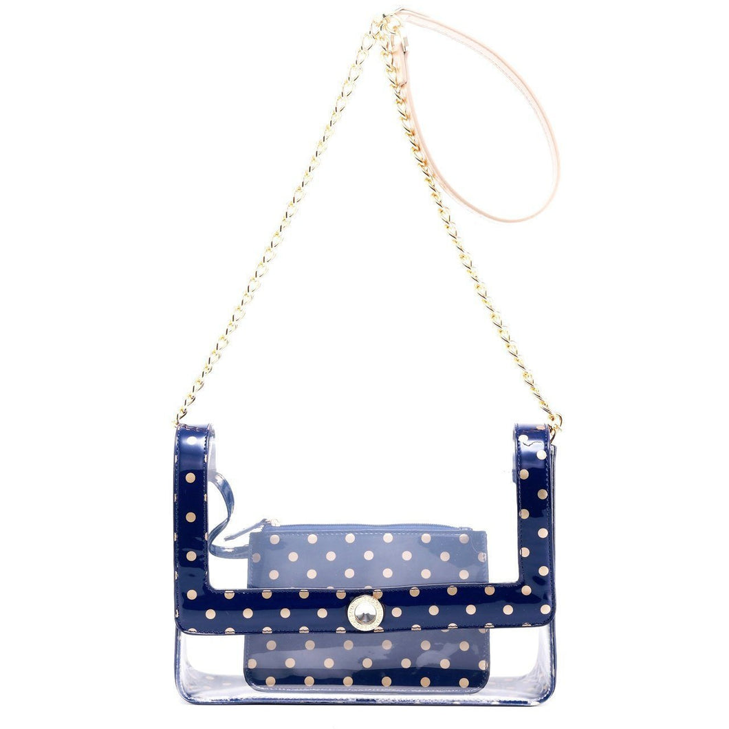 Chrissy Medium Clear Crossbody Game Day Bag - Navy Blue and Gold Gold