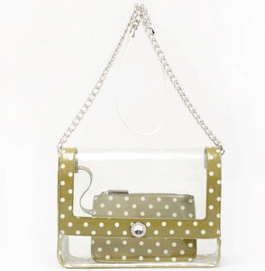 SCORE! Medium Designer Clear Cross-body Bag - Olive Green & White
