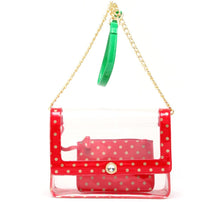 SCORE! Chrissy Medium Designer Clear Cross-body Bag -- Red, Gold and Fern Green