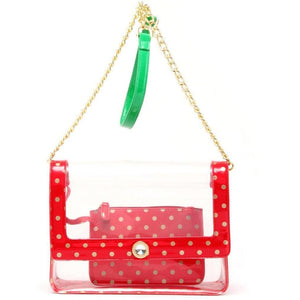 Chrissy Medium Clear Game Day Handbag - Racing Red, Metallic Gold and Fern Green