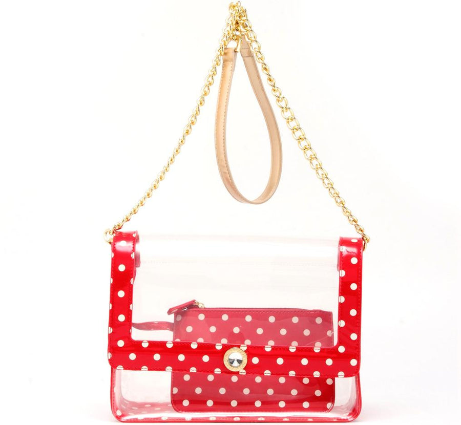 Chrissy Medium Clear Game Day Handbag - Racing Red, White and Gold