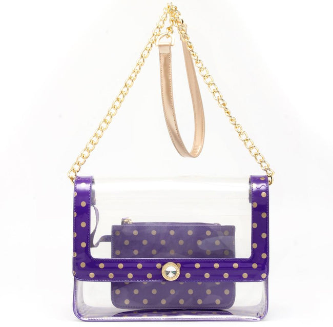 Chrissy Medium Clear Game Day Handbag - Royal Purple and Gold
