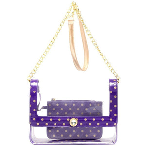 SCORE! Chrissy Medium Designer Clear Cross-body Bag -Royal Purple and Metallic Gold