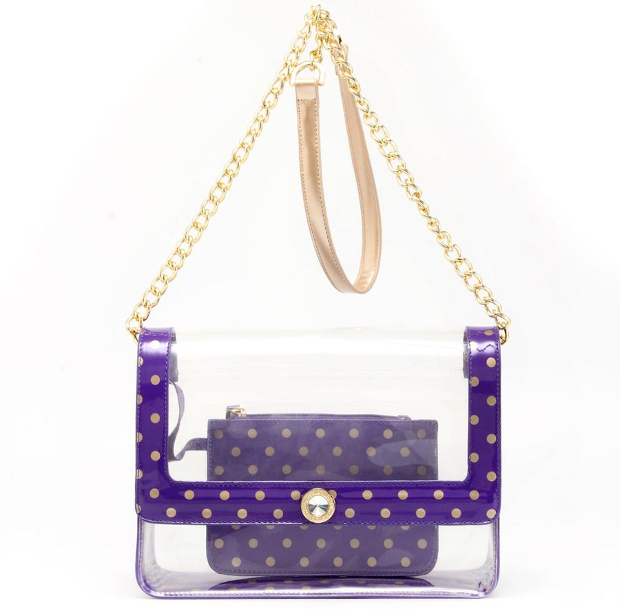 Chrissy Medium Clear Game Day Handbag - Royal Purple and Metallic Gold