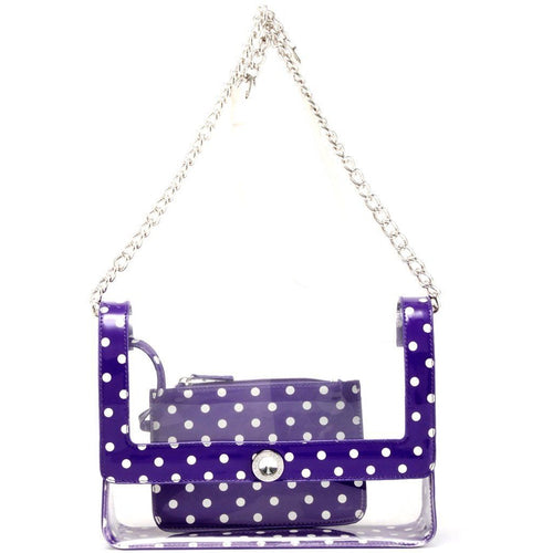 Chrissy Medium Clear Game Day Handbag - Royal Purple and White