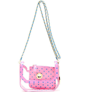 Chrissy Small Clear Game Day Handbag - Pink and French Blue