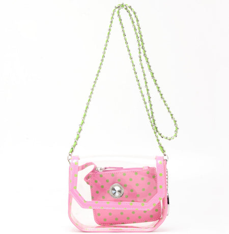 Chrissy Small Clear Game Day Handbag - Aurora Pink and Lime Green