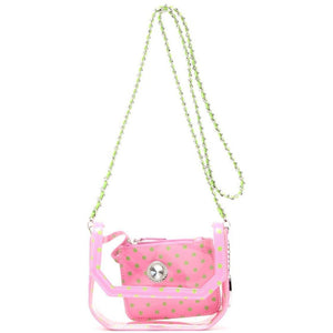 SCORE! Chrissy Small Designer Clear Crossbody Bag - Pink and Green