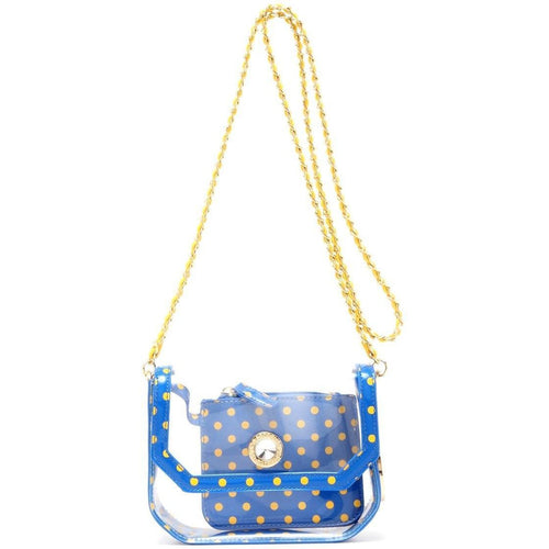 SCORE! Chrissy Small Designer Clear Crossbody Bag - Royal Blue and Yellow Gold
