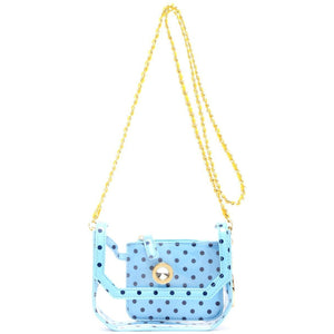 Chrissy Small Clear Stadium Compliant Crossbody Game Day Bag - Light Blue, Navy Blue and Yellow Gold