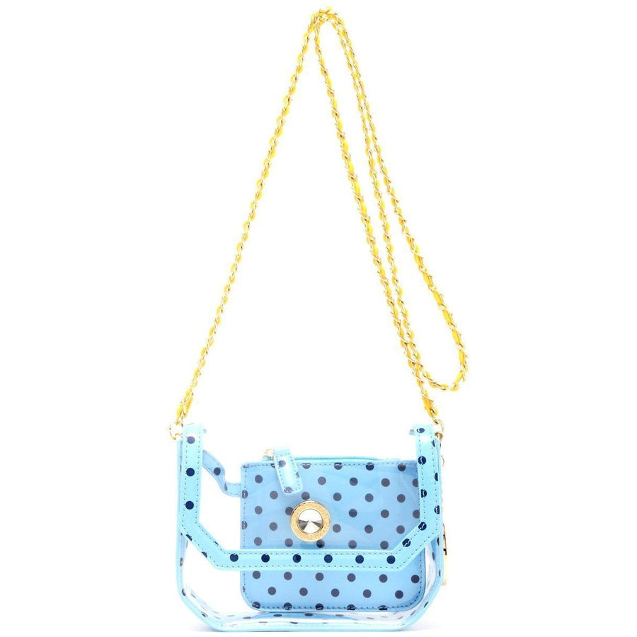Chrissy Small Clear Game Day Handbag - Light Blue, Navy Blue and  Yellow Gold