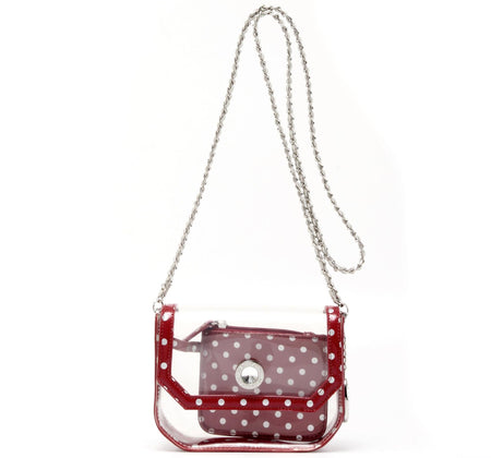 Chrissy Small Clear Game Day Handbag - Maroon and Silver