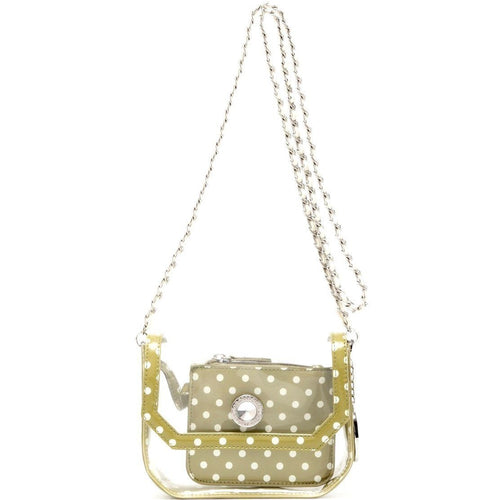 SCORE! Chrissy Small Designer Clear Crossbody Bag - Olive Green and White