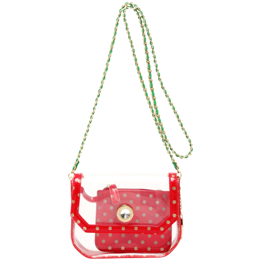 Chrissy Small Clear Game Day Handbag - Racing Red, Metallic Gold and Fern Green