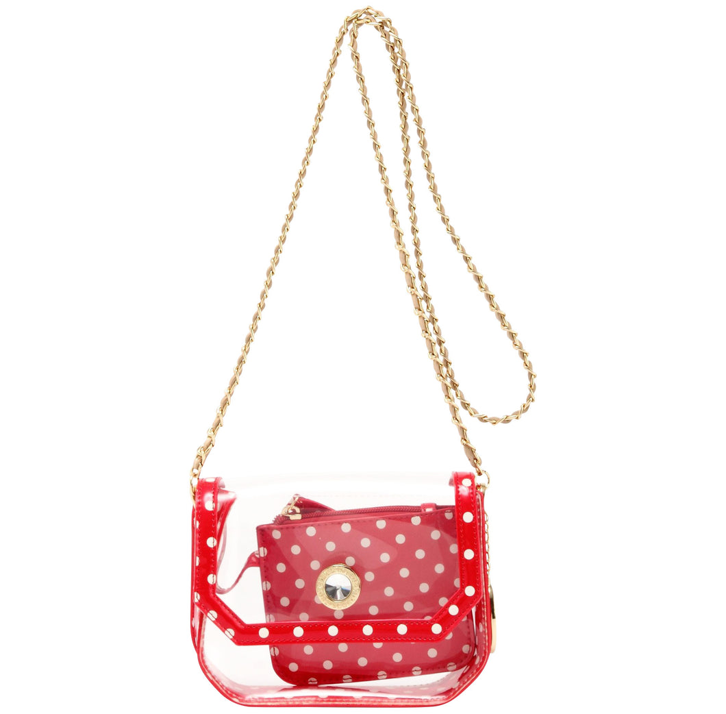 Chrissy Small Clear Game Day Handbag - Racing Red, White and Metallic Gold