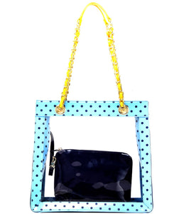 SCORE! Andrea Large Clear Designer Tote for School, Work, Travel- Light Blue, Navy Blue and  Yellow Gold