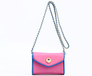 SCORE! Eva Designer Crossbody Clutch - Pink and Blue