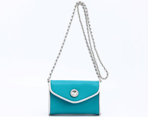 SCORE! Eva Classic Designer Stadium Approved Small Clutch Detachable Chain Crossbody Game Day Bag Event Team Sorority Purse - Turquoise and Silver