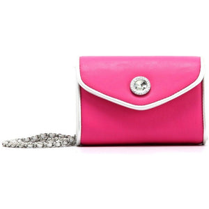 SCORE! Eva Classic Designer Stadium Approved Small Clutch Detachable Chain Crossbody Game Day Bag Event Team Sorority Purse - Pink and Silver Phi Mu