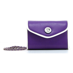SCORE! Eva Classic Designer Stadium Approved Small Clutch Detachable Chain Crossbody Game Day Bag Event Team Sorority Purse - Purple and White