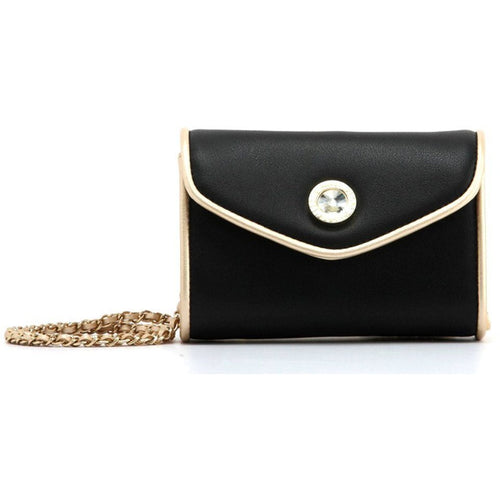 SCORE! Eva Designer Crossbody Clutch - Black and Gold Gold