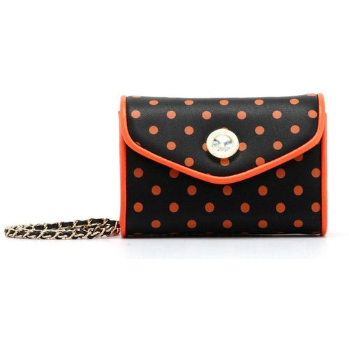 SCORE! Eva Classic Designer Stadium Approved Small Clutch Detachable Chain Crossbody Game Day Bag Event Team Sorority Purse - Black and Orange Polka Dot