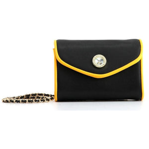 SCORE! Eva Classic Designer Stadium Approved Small Clutch Detachable Chain Crossbody Game Day Bag Event Team Sorority Purse - Black and Gold Yellow