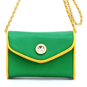 SCORE! Eva Classic Designer Stadium Approved Small Clutch Detachable Chain Crossbody Game Day Bag Event Team Sorority Purse - Bright Green and Gold Yellow