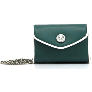 SCORE! Eva Classic Designer Stadium Approved Small Clutch Detachable Chain Crossbody Game Day Bag Event Team Sorority Purse - Green and White