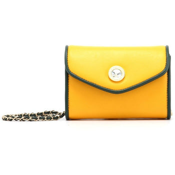Eva Classic Clutch - Forest Green and  Yellow Gold