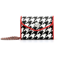 SCORE! Eva Classic Designer Stadium Approved Small Clutch Detachable Chain Crossbody Game Day Bag Event Team Sorority Purse - Black and White Houndstooth and Racing Red