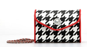 SCORE! Eva Designer Crossbody Clutch - Black and White Houndstooth with Racing Red